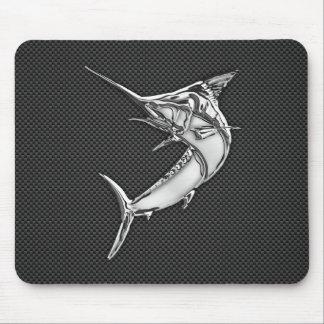 Chrome Like Marlin on Carbon Fiber Mouse Mat