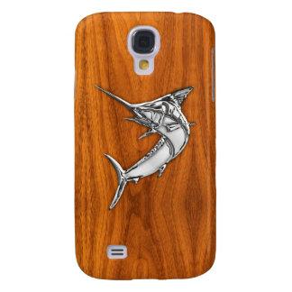 Chrome Like Marlin on Teak Wood Grain Decor Galaxy S4 Case