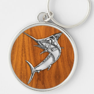 Chrome Like Marlin on Teak Wood Grain Decor Silver-Colored Round Key Ring