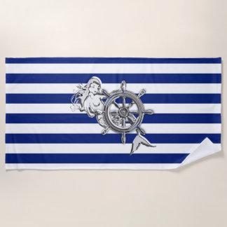 Chrome Like Mermaid on Nautical Stripes Beach Towel
