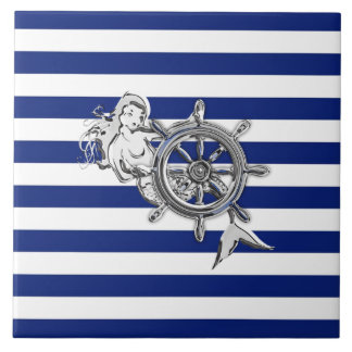 Chrome Like Mermaid on Nautical Stripes Tile