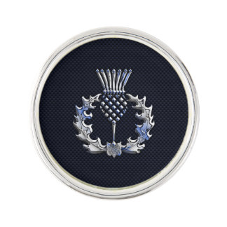 Chrome like on Carbon Fiber Print Scottish Thistle Lapel Pin