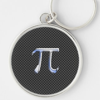 Chrome Like Pi Symbol in Carbon Fiber Style Silver-Colored Round Key Ring