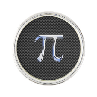 Chrome Like Pi Symbol on Carbon Fiber Style Lapel Pin