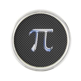 Chrome Like Pi Symbol on Carbon Fiber Style Lapel Pin