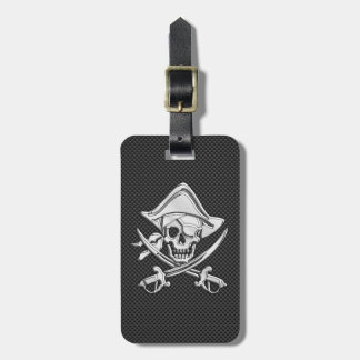Chrome Like Pirate on Black Carbon Fiber Luggage Tag
