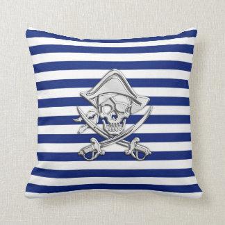Chrome Like Pirate on Nautical Stripes Cushion