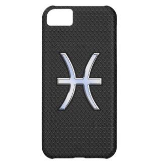 Chrome Like Pisces Zodiac Sign on Black Skin Style iPhone 5C Case