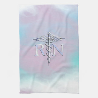 Chrome Like RN Caduceus in Mother Pearl Style Tea Towel