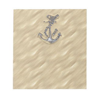 Chrome Like Rope Anchor in the Sand Notepad