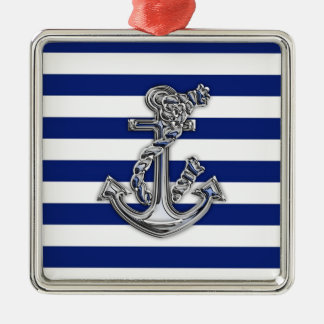Chrome Like Rope Anchor on Nautical Stripes Silver-Colored Square Decoration