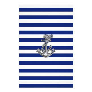 Chrome Like Rope Anchor on Nautical Stripes Stationery Design