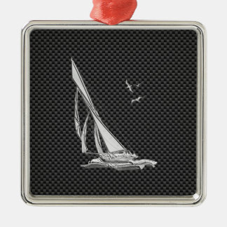 Chrome Like Sailboat on Carbon Fiber Silver-Colored Square Decoration