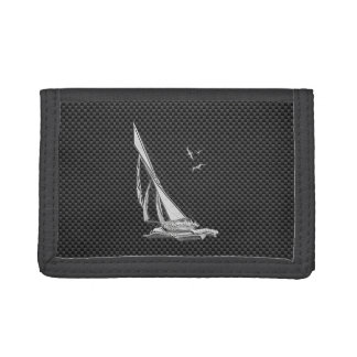 Chrome Like Sailboat on Carbon Fiber Tri-fold Wallets