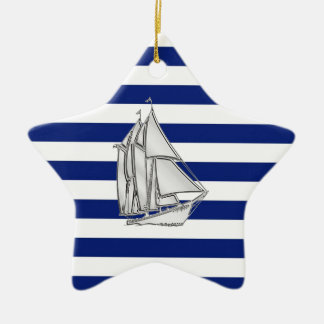 Chrome Like Sailboat on Nautical Stripes Ceramic Star Decoration