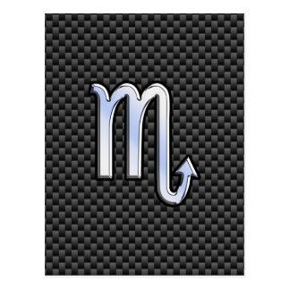 Chrome Like Scorpio Zodiac Sign Carbon Fiber Print Postcard