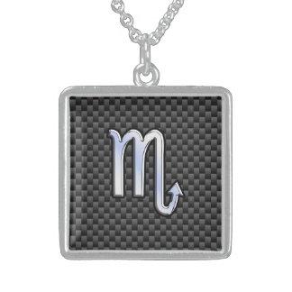Chrome Like Scorpio Zodiac Sign Carbon Fiber Print Sterling Silver Necklace