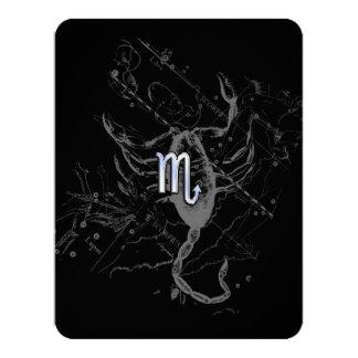Chrome like Scorpio Zodiac Sign on Hevelius Decor 11 Cm X 14 Cm Invitation Card