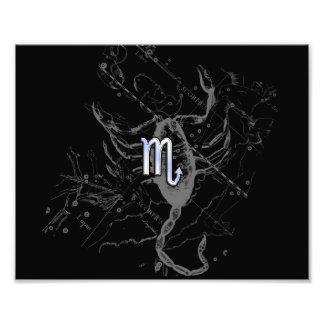 Chrome like Scorpio Zodiac Sign on Hevelius Decor Photo Art