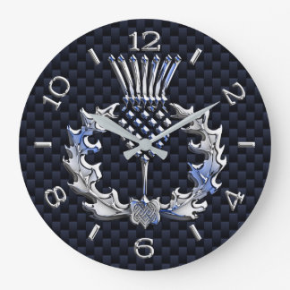 Chrome Like Scottish Thistle Blue Dial on a Large Clock