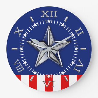 Chrome Like Star on Festive Patriotic Colors Dial Wall Clocks