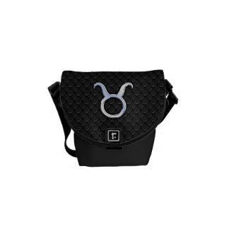 Chrome Like Taurus Zodiac Sign Decor Messenger Bags