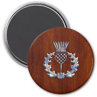 Chrome Like Thistle on Mahogany Wood Style 7.5 Cm Round Magnet