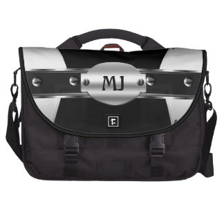 Chrome Look Silver Metal Black Mens Computer Bag