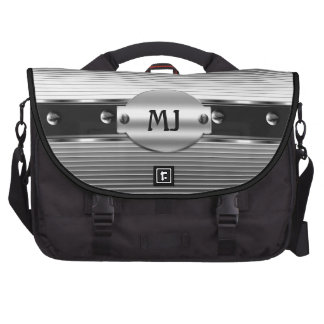 Chrome Look Silver Metal Black Mens Bags For Laptop