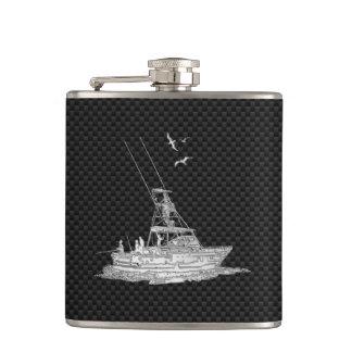 Chrome Marlin Fishing Boat on Carbon Fiber Print Hip Flask