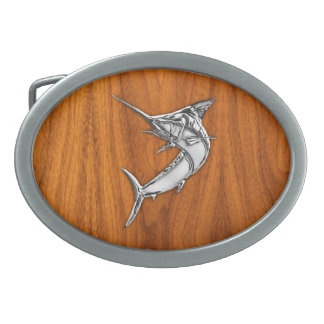 Chrome Marlin on Teak Wood Oval Belt Buckles