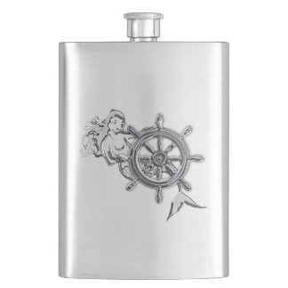 Chrome Mermaid Nautical Print Hip Flask
