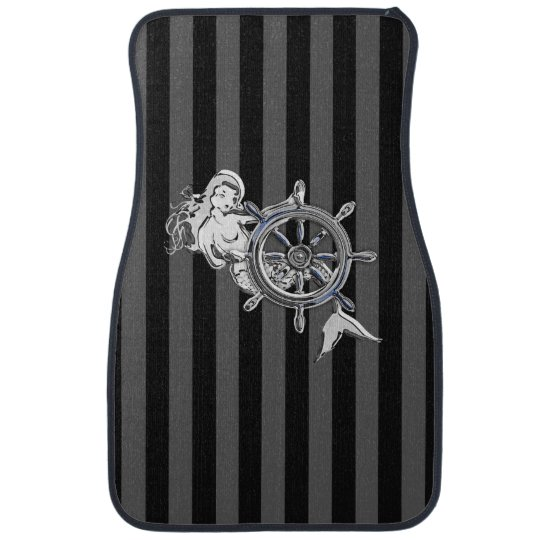 Chrome Mermaid on Black Stripes Print Car Mat
