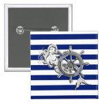 Chrome Mermaid on Nautical Stripes Badge