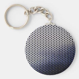 chrome mesh basic round button key ring