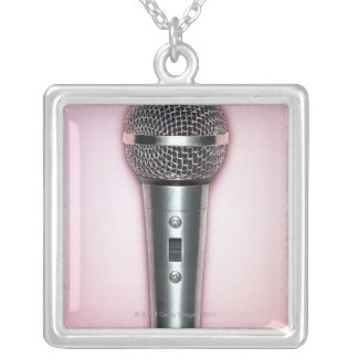 Chrome Microphone Silver Plated Necklace