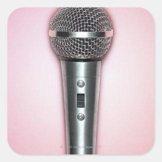 Chrome Microphone Square Sticker