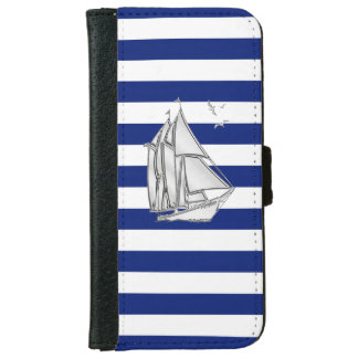 Chrome Nautical Sail Boat Print on Navy Stripes iPhone 6 Wallet Case
