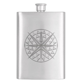 Chrome Nautical Star Print Hip Flask