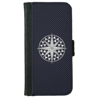 Chrome Nautical Star Print on Navy Carbon Fiber iPhone 6 Wallet Case