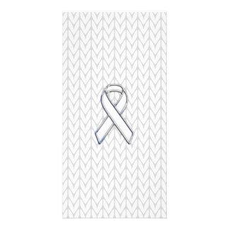Chrome on White Knit Ribbon Awareness Print Photo Greeting Card