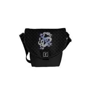 Chrome orient Style Dragon Black Snake Skin Print Courier Bag