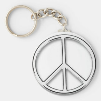 chrome peace sign keychain