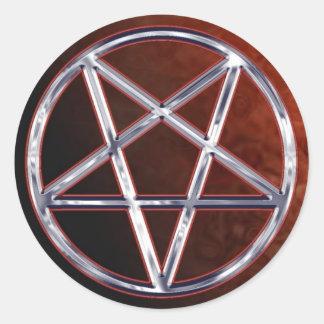 Chrome Pentagram Classic Round Sticker