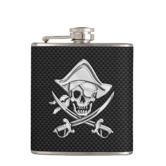 Chrome Pirate on Carbon Fiber Print Flasks