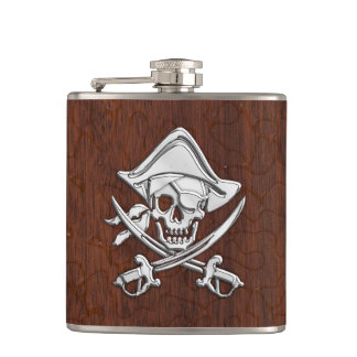Chrome Pirate on Wet Mahogany Print Hip Flask