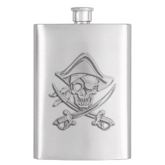 Chrome Pirate Skull Nautical Print Hip Flask