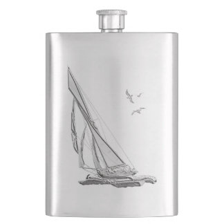 Chrome Sail boat Nautical Print Hip Flask