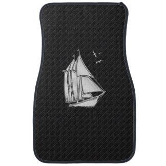 Chrome Sail Boat on Black Checkers Print Floor Mat