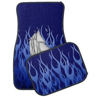 Chrome Sail Boat on Blue Flames Print Floor Mat
